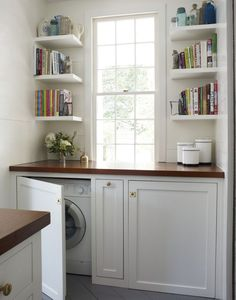 Hidden Laundry Room - Design photos, ideas and inspiration. Amazing gallery of interior design and decorating ideas of Hidden Laundry Room in laundry/mudrooms by elite interior designers - Page 1 Laundry In Kitchen, Laundry Closet, Laundry Room Organization, Laundry Room Design, Old Kitchen, Laundry In Bathroom, Organization Ideas, Brass Kitchen, Kitchen Cabinets