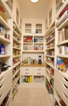 If you're going to build a pantry, best to include one countertop that is used for setting down a jar to procure your materials (rather than carry it all the way to another area just to get counter space to work). The counter space in the pantry allows for grinding, and a place to work whilst organizing the pantry itself.