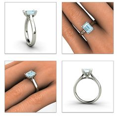 Aquamarine Ring 14K Gold Aquamarine Ring by RareEarth, $610.00