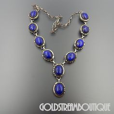 """NATIVE AMERICAN WILLIAM G JOHNSON NAVAJO STERLING SILVER LAPIS LAZULI OVAL LINKS NECKLACE 21.5"""""""
