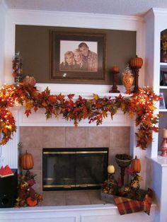 Lovely a fall fireplace mantle decor Harvest Decorations, Seasonal Decor, Holiday Decor, Fall Mantel Decorations, Thanksgiving Decorations, Thanksgiving Mantle, Fall Fireplace Decor, Fireplace Garland, Mantel Ideas