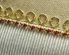 Goldwork: Embroidery with Real Metal Thread: Stretching and Couching Pearl Purl - Mary Corbet Silk Ribbon Embroidery, Embroidery Stitches, Embroidery Patterns, Crazy Patchwork, Crazy Quilting, Medieval Tapestry, Blackwork, Gold Work, Embroidery Techniques