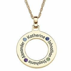 Circle necklace with kids names and birthstones - you can add up to 5 names.  Comes in silver also.  This would look great with casual and work outfits!