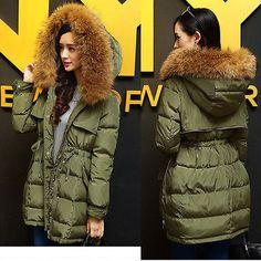 Womens 90% Duck Down Winter Jacket Real Fur Collar Hood Thick Parka Militar Coat