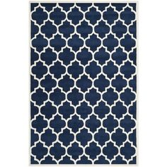 "Handmade Moroccan Dark Blue Wool Area Rug (8'9"" x 12') 
