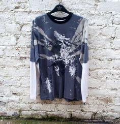 ★ Brilliant Blue ★ Long Sleeve Skull Top Teen Acid Wash Tie Dye Jumper age 14 - 15 years #teen #alternativestyle #shirt