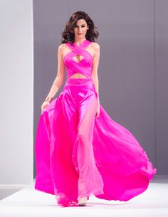 Pink Silk  dress, fashion show at Mar-a-Largo!!!!  Miss Nicaragua Universe 2013 Nastassja Bolivar wearing my custom Neon Pink Criss Cross dress on the runway at Mar-a-Lago!!! For Custom Orders contact Paul at edelascasas@aol.com