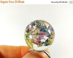 Queen Anne Lace resin ring sphere ring blue flower by ByEmilyRay