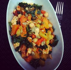Miso-Curry Glazed Squash, Tofu and Kale with Chickpeas, Potatoes and Pepitas | Save the Kales!