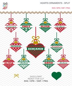Heart Ornament Split  with Bow SVG DXF PNG eps Valentine Chrsitmas Winter Holidays Cut File Cricut Design, Silhouette studio, vinyl decal by SvgCutArt on Etsy