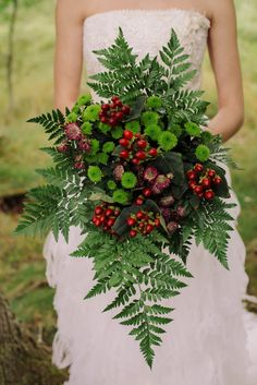 Fern Rosehip Bouquet Flowers Bride Bridal Cosy Candlelit Woodland Barn Wedding Ideas http://www.chrisrandlephotography.co.uk/