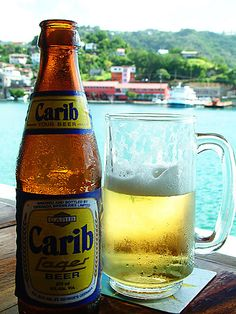 Carib Lager ... beer brewed in Trinidad & Tobago.  It was available at our honeymoon result in Jamaica.