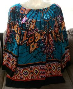 7dacaa9650e737 Details about Investments II Plus Size 3X Multi-color Egyptian Gls Print  Long Sleeve Blouse