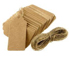 100pcs Étiquettes Papier Kraft Brun Pour Prix Soirée Mariage Cartes-Cadeaux [version:x8.3] by DELIAWINTERFEL: Amazon.fr: Cuisine & Maison