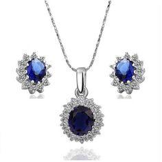 AEKK 18k White Gold Plated Crystal CZ Rhinestone Sets Necklace Earrings