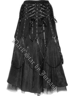 Dark Star Black Chains Gothic Skirt [DS/SK/7032B] - $121.99 : Mystic Crypt, the most unique, hard to find items at ghoulishly great prices!