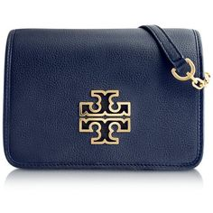 Tory Burch Handbags Britten Combo Pebbled Leather Crossbody Bag ($575) ❤ liked on Polyvore featuring bags, handbags, shoulder bags, navy, chain shoulder bag, navy blue purse, blue shoulder bag, evening purses and flap crossbody