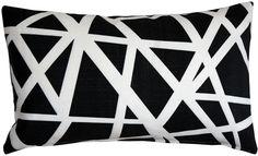 Bird's Nest Black Throw Pillow 12X20