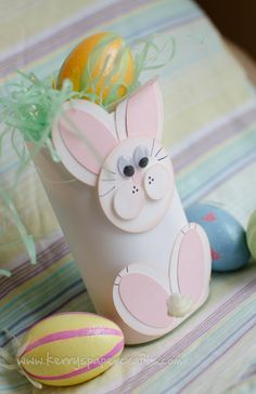 Covered Crystal Light container - Easter Bunny goodie holder - adorable!