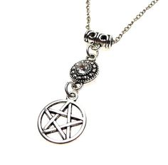 Crystal Pentacle Necklace Pendant - Everyday Spiritual Jewelry, Crystal Pentagram Pendant, SE-P0748 by SilverEnchantments on Etsy