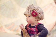Little Girl Hat, Crochet Slouchy Hat, Toddler Crochet Hat, Girl's Newsboy Hat, Jute, Red, Cotton,  2T to 4T. $36.00, via Etsy.