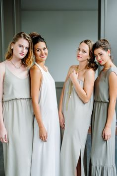 Classic modern wedding in simple bride & bridesmaid dresses. #wedding #jewelry Photography by @csargologos