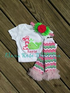Whale chevron birthday onesie - 1st birthday outfit - birthday leg warmers - chevron leg warmers -
