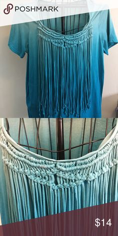 """Gorgeous ladies top with fringe EUC ladies ombré blue shirt sleeve top with """"fringe"""" roamans  Tops Tees - Short Sleeve"""