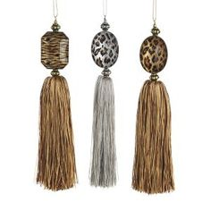 Pack or 24 Gold and Silver Animal Print Tassel Christmas Ornaments