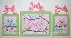 Birds Owls pink green blue custom name sign by sweetartboutique, $50.00