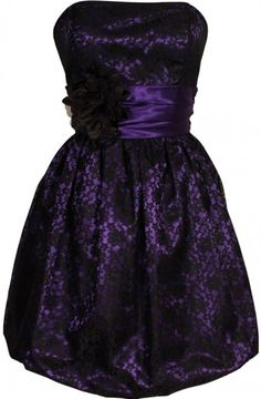 Bubble A-line Strapless Knee Length Lace Satin Homecoming/Cocktail Dress With Flower Sash