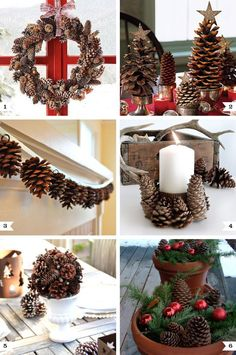decorating for the holidays using pine cones | Make a gorgeous pine cone and acorn wreath – via Shelterness