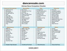 We have created a Dance Competition Check List that is the most comprehensive we have seen. When getting ready for a competition this is a must have. Just click on the link below to download.