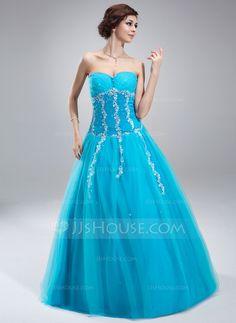Corte A/Princesa Escote corazón Hasta el suelo Tul Vestido de quinceañera con Bordado Los appliques Encaje Lentejuelas (021018808)