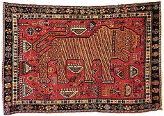 Qashqa'i (Safi Khani?) , mid 19th century - Aaw, Iranian tiger rug!