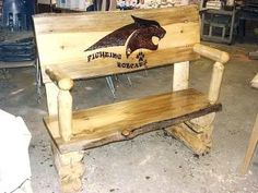 A Montana Bobcat burn bench.