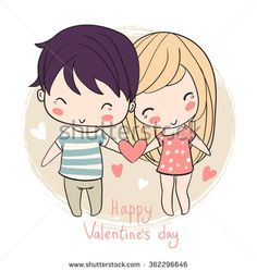 Lovely girl and boy. Valentine'S Day. Girl and boy holding heart. Love cards.