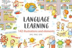 SUPER DISCOUNT for a limited time only! A bundle of 10 sets of illustrations which can be used as a teaching aid while language learning, includes synonyms, Learn A New Language, Foreign Language, English Language, Graphic Illustration, Illustrations, Art Music, Vector File, Presentation Templates, Design Bundles