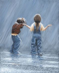 Rain Stops Play - Award winning paintings - The Global Art Company Informations About Rain Stops Pla Rain Painting, Painting People, Painting For Kids, I Love Rain, Rain Art, Rain Photography, Walking In The Rain, Global Art, Anime Comics