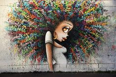Beautiful Street Art Mural by Vinie Graffiti in Paris #streetart