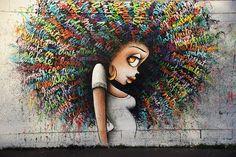 Beautiful Street Art Mural by Vinie Graffiti in Paris #streetart