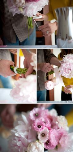 How to make a wedding flower bouquet.