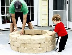 DIY fire pit....we have this same one in our yard...love it! Each block roughly $1.75 each at Lowes Hardware