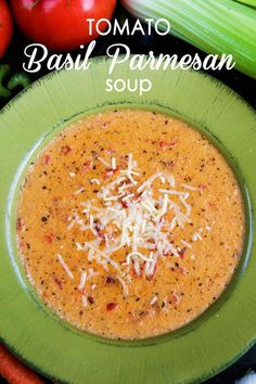 Tomato Basil Parmesan Soup. Olive oil, celery, carrots, onion, garlic, basil, oregano, bay leaf, canned diced tomato, chicken stock, butter, flour, heavy cream, parmesan cheese, salt, and black pepper