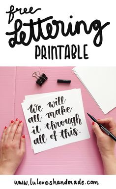 Free Handlettering Printable: We'll Make It Through This Brush Lettering, Hand Lettering, Tombow Pens, Make It Through, Brush Pen, Free Printables, Stencils, Motivation, Drawing