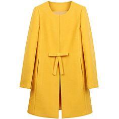 Womens Plain Long Sleeve Double Pockets Bow Decor Woolen Coat Yellow ($24) ❤ liked on Polyvore featuring outerwear, coats, coats & jackets, jackets, yellow, long sleeve coat, embellished coat, yellow coat, wool coat and bow coat