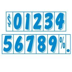 "CAR DEALER Window Number Stickers 7.5"" Vinyl 48 Dozen Windshield Blue White #CarLotPromotions"