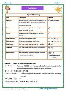 Grade 7 Maths Workbook 11: Exponents and roots- basics