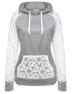 Women Sheer Lace Long Sleeve Hooded Pullover Floral Sweatshirt Hoodie With Pocke. - Women Sheer Lace Long Sleeve Hooded Pullover Floral Sweatshirt Hoodie With Pockets – Gray – Clothing, Hoodies & Sweatshirts Pullover Hoodie, Hooded Sweatshirts, Basic Hoodie, Grey Hoodie, Coats For Women, Clothes For Women, Lace Sleeves, Ideias Fashion, Fashion Outfits