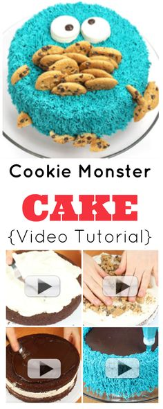 Cookie Monster Cake {Video Tutorial} | How to make a super-silly Cookie Monster Cake! This is perfect for birthdays and baby showers. Moist chocolate cake, cream, cookies, choc ganache & butter cream icing! | http://angelfoods.net/cookie-monster-cake-video-tutorial/